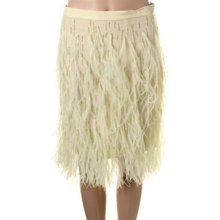 Wes Gordon Womens Silk Feathered A-Line Skirt - 14
