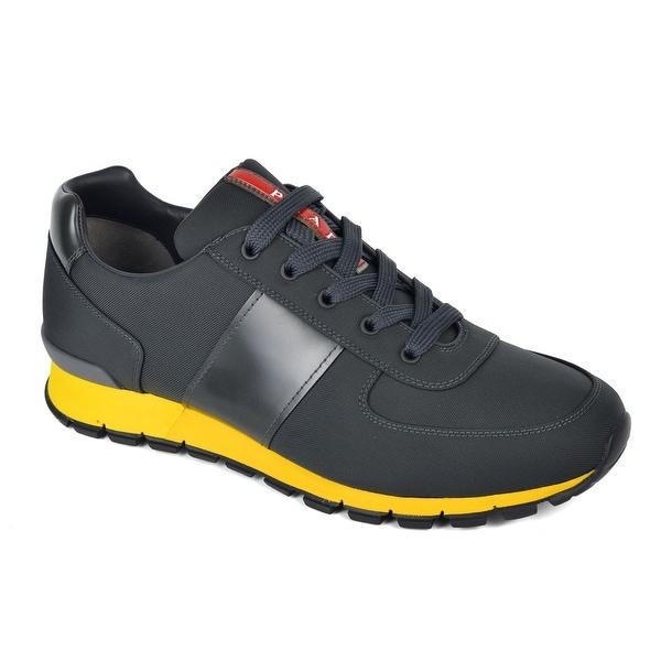964e5efa9 Shop Prada Mens Dark Grey Yellow Nylon Leather Running Sneakers ...