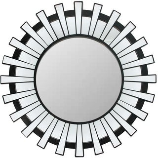 "25.5"" Sparkling Regal Sunburst Matte Black Decorative Round Wall Mirror"