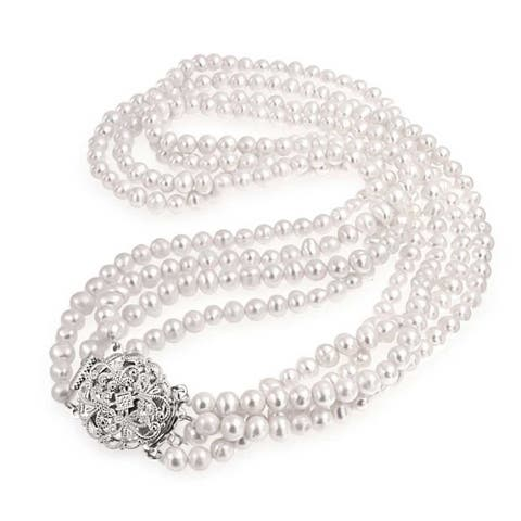 Vintage Style Bridal Freshwater Pearl Multi Strand Necklace Floral CZ Clasp Rhodium Plated Brass 16 Inch
