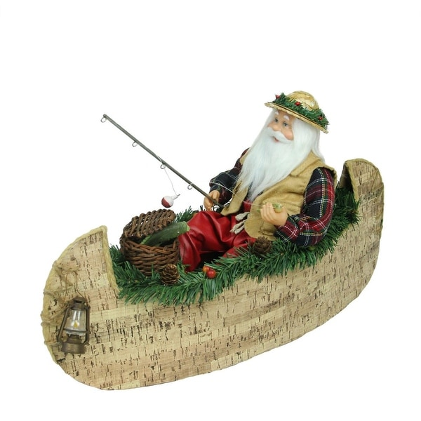 "18.5"" Rustic Lodge Fishing Santa Claus in a Canoe Christmas Tabletop Decoration"