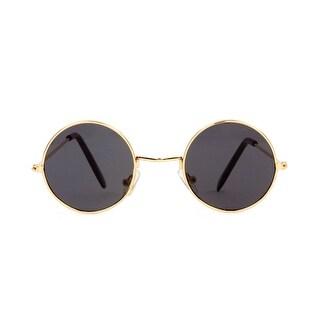 Circular Frame Style Black Lens Gold Frame Sunglasses - Smoke - One size