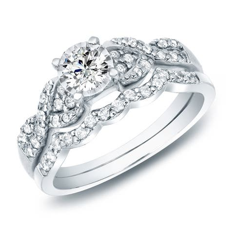Auriya 3/5ctw Braided Twist Diamond Engagement Ring Set 14k Gold