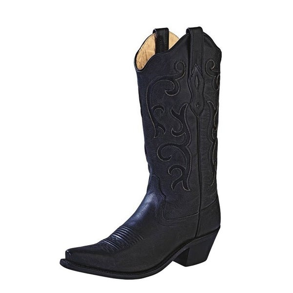 Old West Cowboy Boots Womens Stitching Leather Insole Black. Opens flyout.