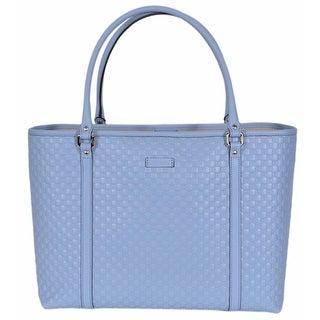 """Gucci 449647 Light Blue Leather Micro GG Guccissima Joy Purse Handbag Tote - 16"""" x 6"""" x 11"""""""