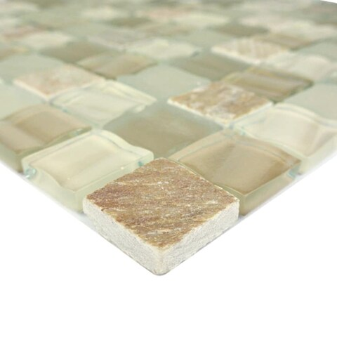 "Miseno MT-CONTINENTAL1SQW Continental - 1"" X 1"" - Glass Visual - Wall Tile (Sold by Sheet) - N/A"