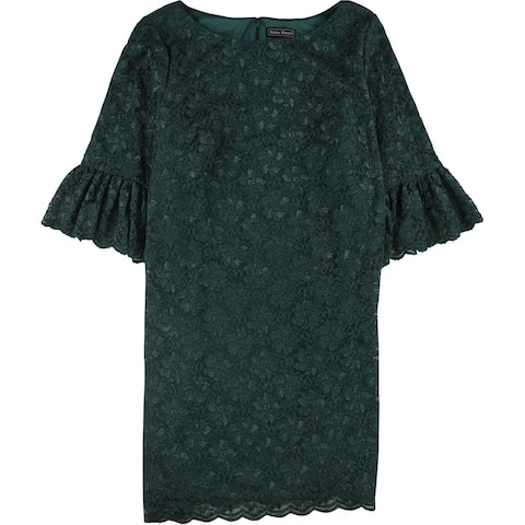 Jessica Howard Womens Sparkle Lace Shift Dress, green, 22W