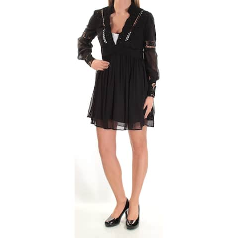 1d4530f32f8 FREE PEOPLE Womens Black Embroidered Lace Long Sleeve V Neck Mini Empire  Waist Dress Size