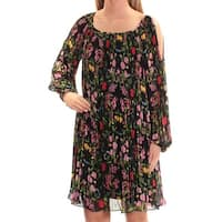 INC Womens Black Floral Long Sleeve Scoop Neck Above The Knee Shift Dress  Size: XS
