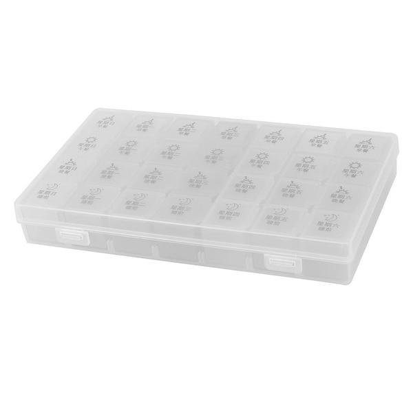 Family Office PP Rectangle 28 Slots Medicine Pill Storage Holder Case Box White