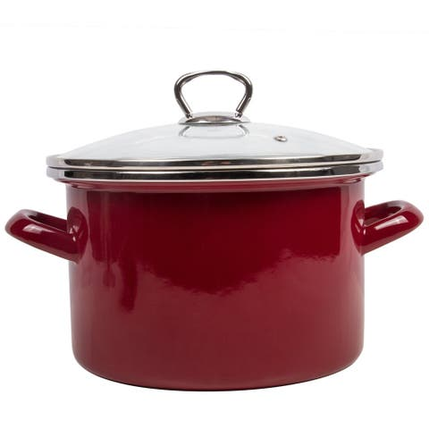STP Goods Burgundy Enamel on Steel 1.6-quart Pot with a Glass Lid