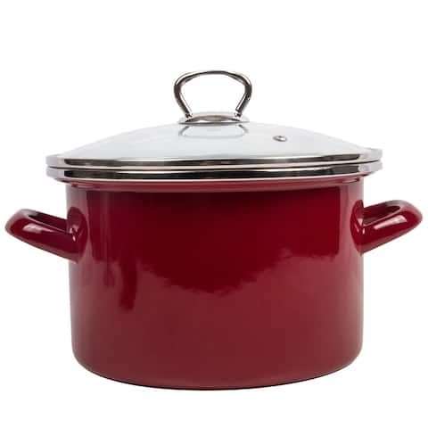 STP Goods Burgundy Enamel on Steel 4.2-quart Pot with a Glass Lid