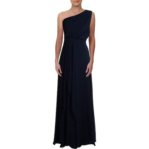 Xscape Womens Evening Dress Ruffle Ruched - Navy