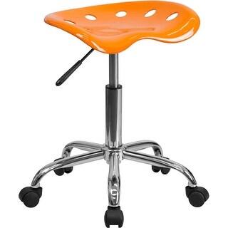 Brittany Orange Tractor Seat & Chrome Multipurpose Stool