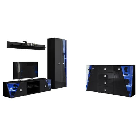 Edge Set TV-BK-SB-SH Modern Wall Unit Entertainment Center