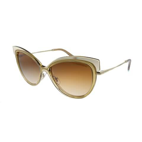 Tiffany & Co. TF 3076 83253B Womens Light Brown Transparent Frame Brown Mirror Lens Sunglasses