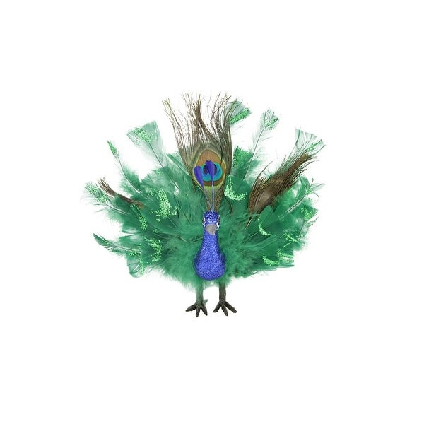 """7"""" Colorful Green Regal Peacock Bird with Open Tail Feathers Christmas Decoration - BLue"""