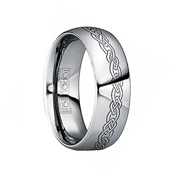 GERMANUS Engraved Celtic Knot Tungsten Wedding Ring by Crown Ring