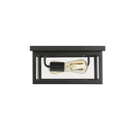 Ove Decors Bruce 2-Light Square Flushmount in Black with Bulbs