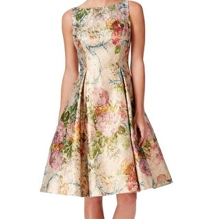 Adrianna Papell NEW Gold Women Size 6 Floral-Print Shimmer A-Line Dress