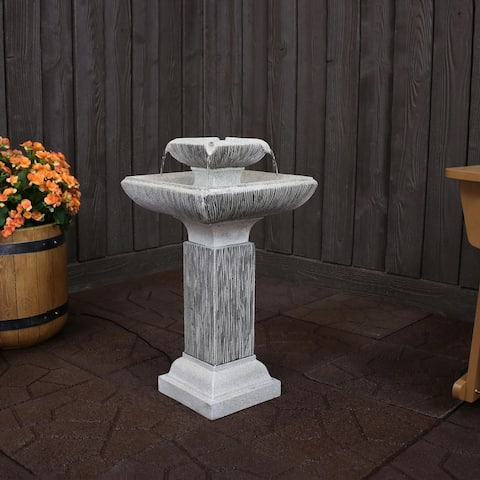 """Sunnydaze 2-Tier Square Bird Bath Outdoor Water Fountain 25"""" Feature with LEDs"""