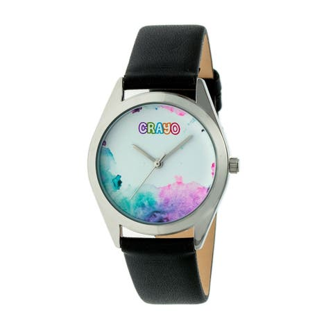 Crayo Graffiti Unisex Quartz Watch, Genuine Leather Band