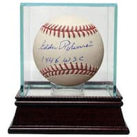 Eddie Robinson signed Official Major League Baseball 1948 WSC w Glass Case JSA Hologram Cleveland I