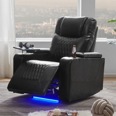 Power Motion Recliner with 2 Cup Holders and 360° Swivel Tray Table