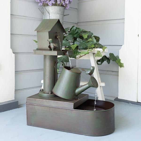 "Alpine Corporation 24"" Tall Indoor/Outdoor Birdhouse and Watering Can Floor Water Fountain. Opens flyout."