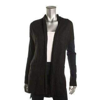 Three Dots Womens Cardigan Sweater Ribbed Trim Long Sleeves