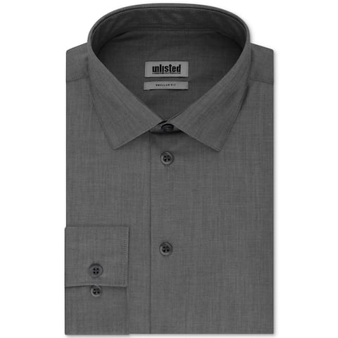 Kenneth Cole Unlisted Mens Dress Shirt Graphite Gray Large L Regular Fit