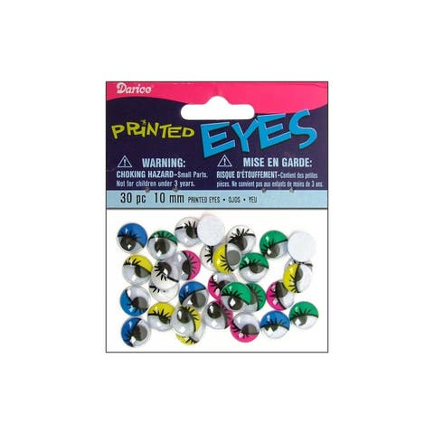 Darice Eyes Printed Moveable 10mm Astd 30pc