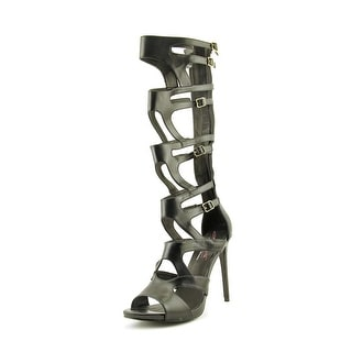 Steve Madden Maven Women Open Toe Synthetic Black Gladiator Sandal