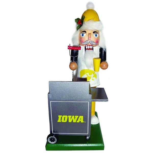"12"" NCAA University of Iowa Hawkeyes Sports Tailgating Wood Christmas Nutcracker - YELLOW"