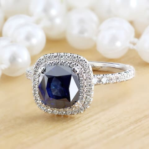 Auriya 18k Gold 2ct Cushion-cut Blue Sapphire Halo Diamond Engagement Ring 1ctw
