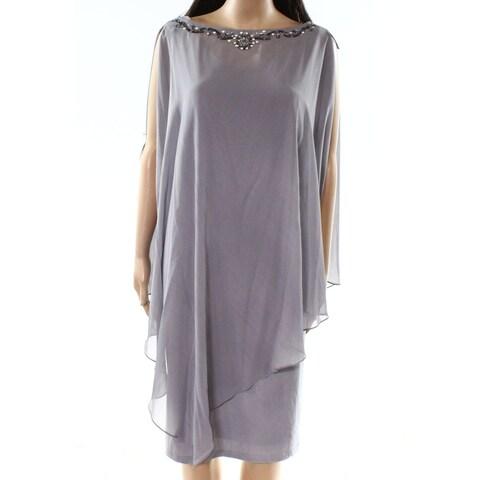 SLNY Gray Womens Size 22W Plus Embellished Cape Sheath Dress
