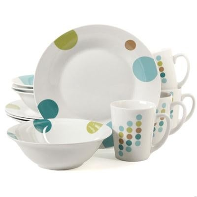 Gibson 91701.12 Home Retro Specks 12 Piece Dinnerware Set - White