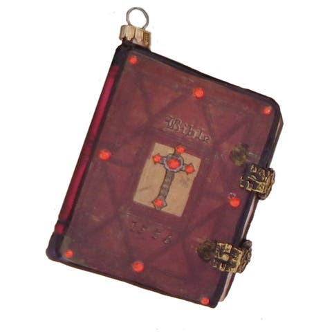 Holy Bible Good Book with Red Cover Christmas Holiday Ornament Glass