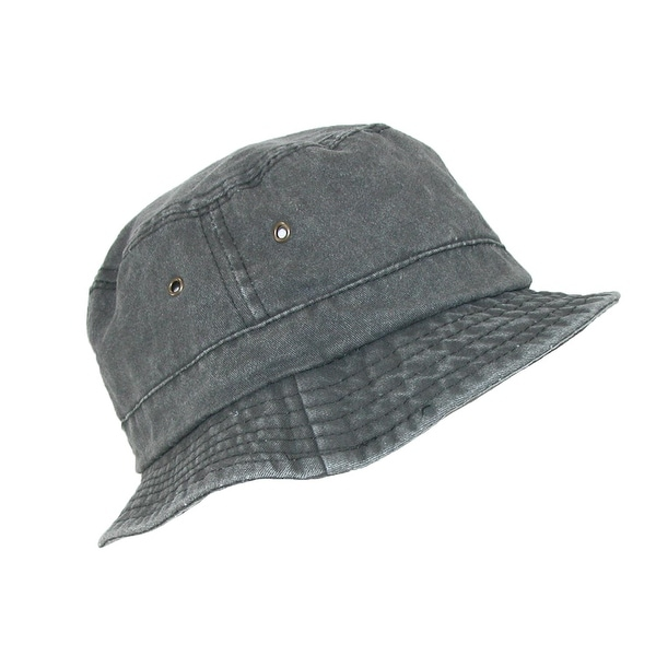 0832c837 Shop Dorfman Pacific Black Cotton Stone Washed Summer Bucket Hat - Free  Shipping On Orders Over $45 - Overstock - 14279090