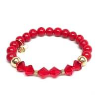 """Red Jade & Crystal Chloe 7"""" Bracelet"""