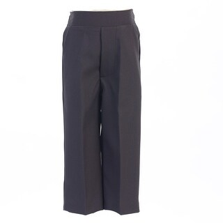 Baby Boys Charcoal Elastic Waistband Special Occasion Long Dress Pants 3-24M - 12-18 months