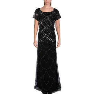 Adrianna Papell Womens Formal Dress Mesh Embellished