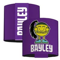 "Bayley Hugger Caricature Purple White Elastic Wrist Cuff   3.0"" Wide"