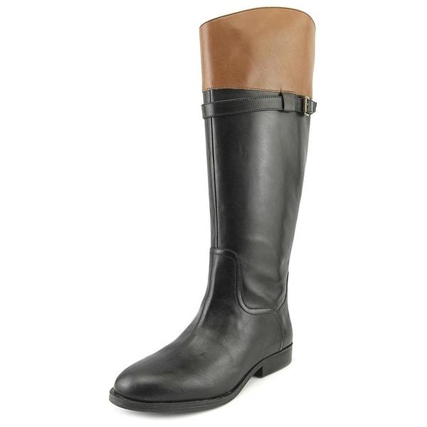 Nine West Velika Women Round Toe Leather Black Knee High Boot