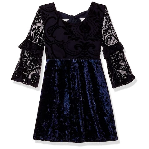 My Michelle Girls Dresses Blue Size 8 Velvet Burnout Ruffled-Sleeve