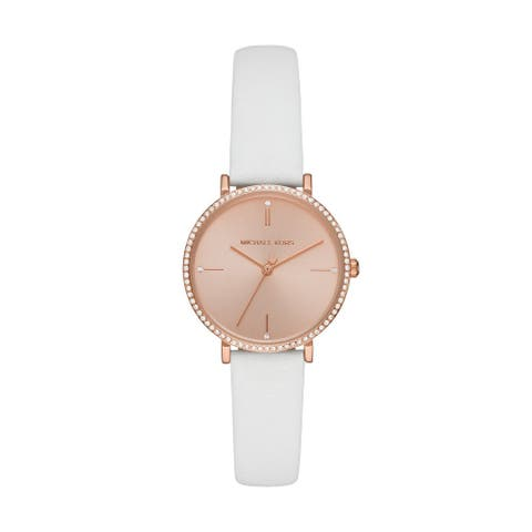 Michael Kors Women's Jayne Rose Gold Dial White Leather Watch