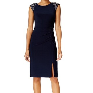 Vince Camuto NEW Blue Womens Size 16 Embellished Side-Slit Sheath Dress