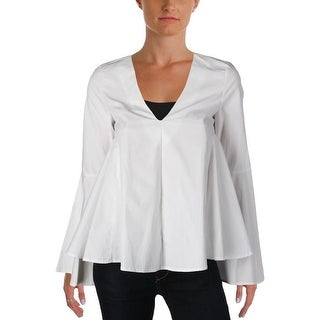 Aqua Womens Blouse Poplin V-Neck