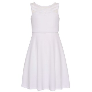 Bonnie Jean Girls White Criss-Cross Neck Panel Sleeveless Dress