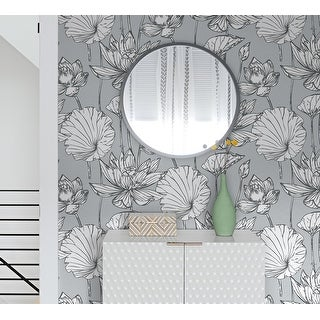 NextWall Lotus Floral Peel and Stick Wallpaper